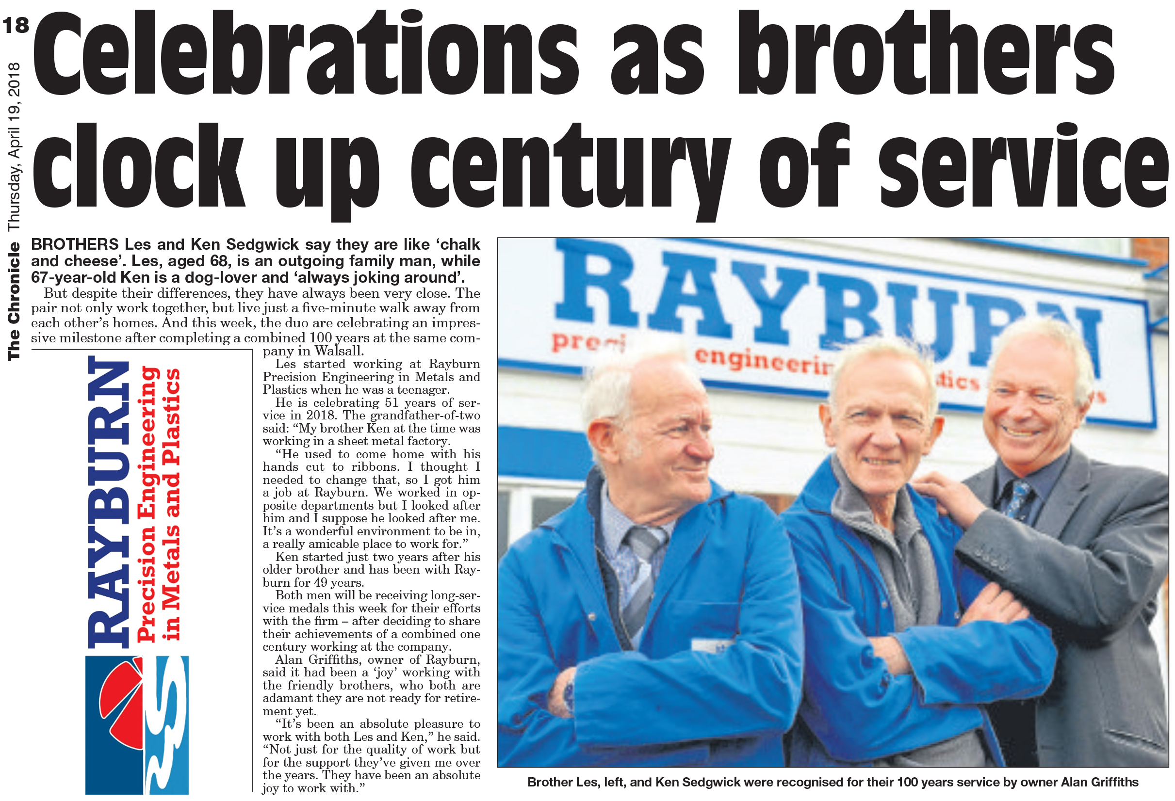KEN AND LES SEDGWICK BROTHERS CELEBRATE 100 YEARS OF SERVICE